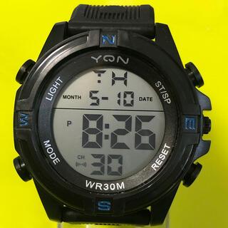 新品 YQN メンズデジタルLEDウォッチ  ブラックブルー  アウトドア (腕時計(デジタル))