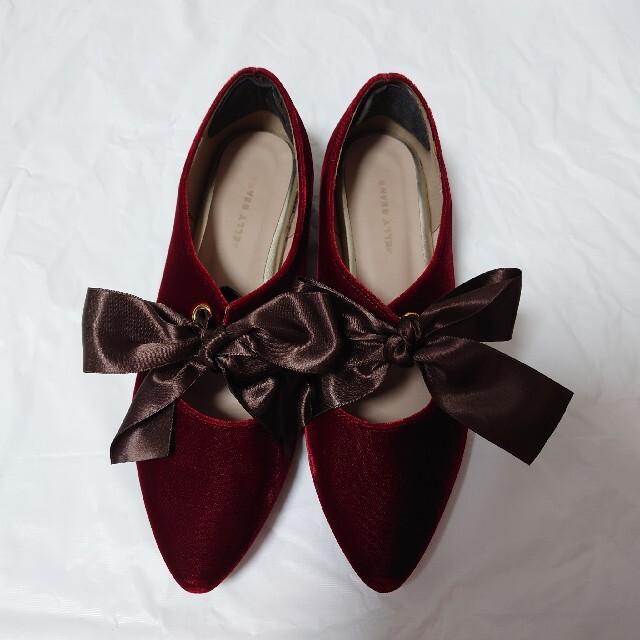 JELLY BEANS(ジェリービーンズ)の♥jelly beans / リボンベロア フラットシューズ レディースの靴/シューズ(バレエシューズ)の商品写真