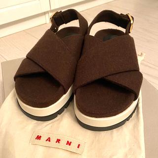 マルニ(Marni)の【完全新品】【値下げ可能】MARNI フェルトサンダル ブラウン(サンダル)