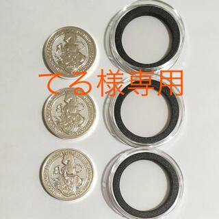 【てる様専用】英国ユニコーン2オンス銀貨3枚 黒リングカプセル付き(貨幣)