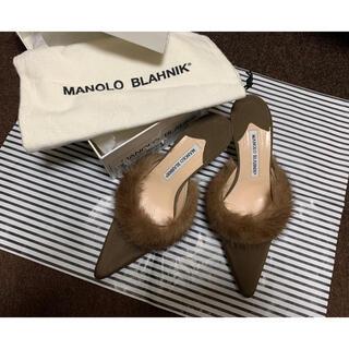 マノロブラニク(MANOLO BLAHNIK)の♡MANOLO BLAHNIKファー付きブラウンミュール♡(ミュール)
