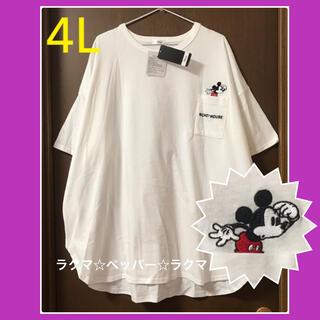 ミッキーマウス(ミッキーマウス)のミッキー ドルマン tシャツ 4L 胸ポケット ディズニー(Tシャツ(半袖/袖なし))