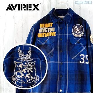 AVIREX - AVIREX ワッペン&ビッグロゴ刺繍オンブレチェック長袖シャツ M ネルシャツ