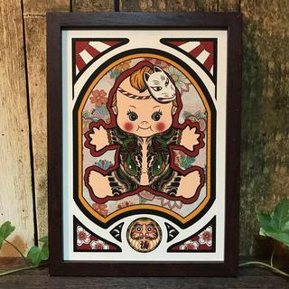 刺青 画 オリジナル タトゥー 狐面 和彫り 大蛇 B5 サイズ  フレーム付き(ミラー)