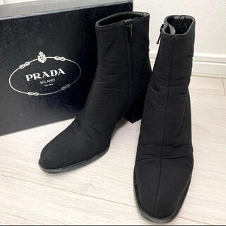 PRADA - PRADA プラダ 23.0 本革 ブラック ショートブーツ