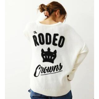 ロデオクラウンズワイドボウル(RODEO CROWNS WIDE BOWL)のロデオクラウンズ RCSロービングニットトップス オフホワイト(ニット/セーター)