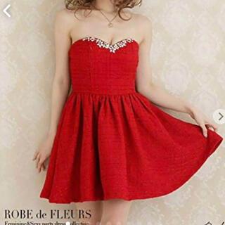 ローブ(ROBE)のローブドフルール 赤 サンタ ドレス コスプレ(ミニドレス)