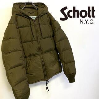 ショット(schott)の美品 US製 schott ダウンジャケット ブラウン系 アースカラー メンズL(ダウンジャケット)