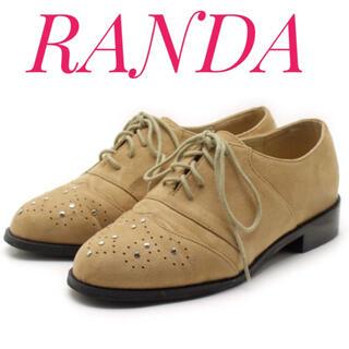 ランダ(RANDA)のRANDA ランダ【美品】スタッズ×パンチング スエード シューズ ローファー(ローファー/革靴)
