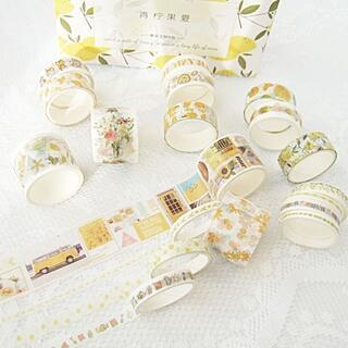 N39f 箱入 マスキングテープ 20本 海外 マステ 黄色 向日葵 レモン 花(テープ/マスキングテープ)