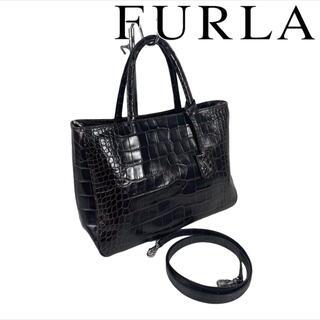 フルラ(Furla)のFURLA 2way ハンドバッグ レザー クロコ 型押し(ハンドバッグ)