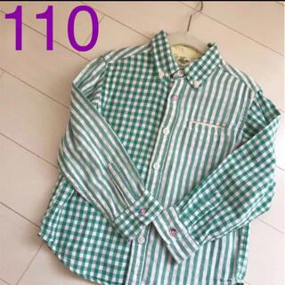 ライトオン(Right-on)のお値下げ 長袖シャツ ギンガムチェック グリーン 110 男女兼用(ブラウス)
