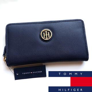 トミーヒルフィガー(TOMMY HILFIGER)のTOMMY HILFIGER 長財布 ウォレット ネイビー ゴールド ジップ(財布)