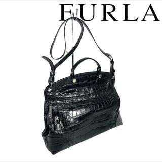 フルラ(Furla)のクロコ☆型押し FURLA 2way ハンドバッグ パイパー(ハンドバッグ)