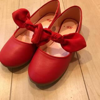 エイチアンドエム(H&M)の赤 フラットリボンパンプス 19.5 19 H&M 美品(フォーマルシューズ)