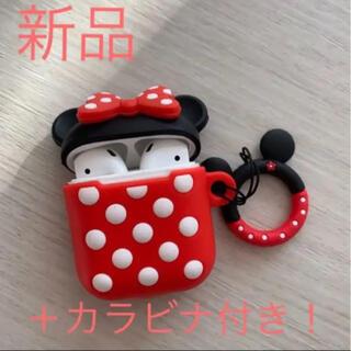 ディズニー(Disney)の❤︎新品❤︎ Apple Airpods シリコンケース ミニー カラビナ付(ヘッドフォン/イヤフォン)