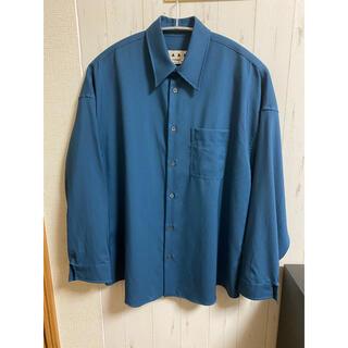 marni 19ss ウールシャツ トロピカルウールシャツ ペトロール 44
