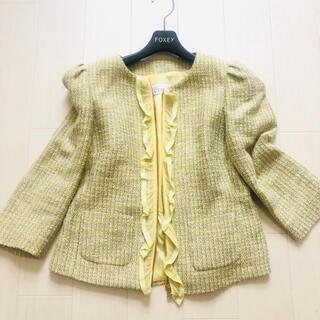 RED VALENTINO - 美品レッドヴァレンティノ ノーカラーツイードジャケット 羽織り