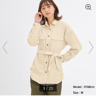 GU - コーデュロイベルテッドオーバーサイズシャツ アイボリー