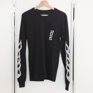 クロムハーツ(Chrome Hearts)のクロムハーツ メンズ ロンT 長袖 フレイム ブラック ホワイト Sサイズ 美品(Tシャツ/カットソー(七分/長袖))