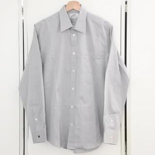 エルメス(Hermes)のエルメス 長袖 シャツ メンズ 40 グレー 総柄 セリエボタン コットン 美品(シャツ)