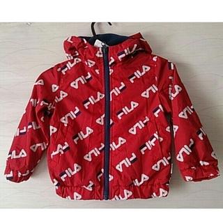 フィラ(FILA)のFILA ジャンパー 身長 90 赤 キッズ フード 冬 未使用 タグ付き 子供(ジャケット/上着)