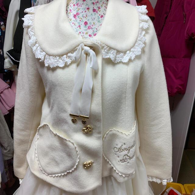 Angelic Pretty(アンジェリックプリティー)のアンジェリックプリティショートコート白 レディースのジャケット/アウター(テーラードジャケット)の商品写真