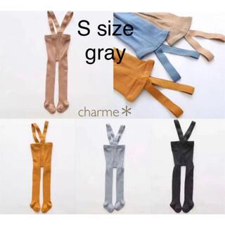 キャラメルベビー&チャイルド(Caramel baby&child )の【S size・gray】ブレース付きタイツ 肩紐リブソックス 韓国子供服(靴下/タイツ)