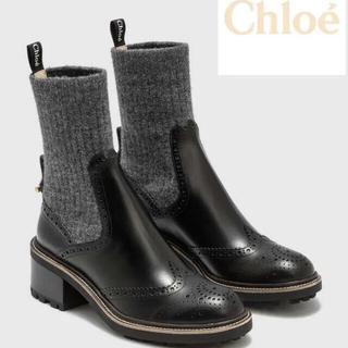 クロエ(Chloe)の20AW CHLOÉ ソックス アンクルブーツ(ブーツ)