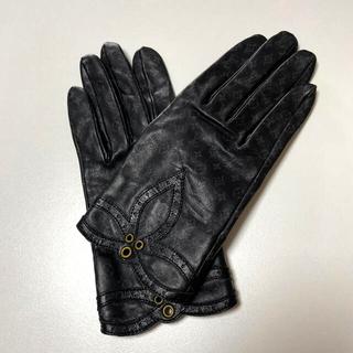 ルイヴィトン(LOUIS VUITTON)のルイヴィトン レザーグローブ モノグラム 革 黒 サイズM(手袋)
