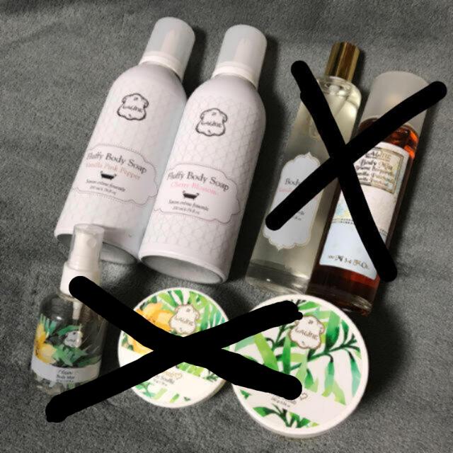Laline(ラリン)のLaline ラリンセットチェリーブロッサム バニラピンクペッパー コスメ/美容のボディケア(ボディソープ/石鹸)の商品写真