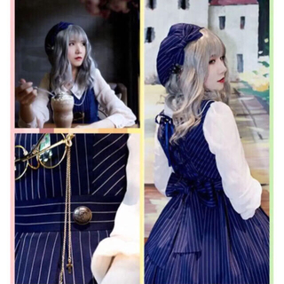アンジェリックプリティー(Angelic Pretty)のロリータ  ゆめかわ ハリーポッターコラボ ネイビージャンスカとシャツのセット(ひざ丈ワンピース)