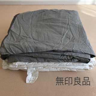 MUJI (無印良品) - 無印良品 こたつ布団 こたつカバー グレー セット 正方形