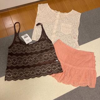 ラブガールズマーケット(LOVE GIRLS MARKET)のレースTシャツ キャミソール スカート 3点セット(ミニスカート)