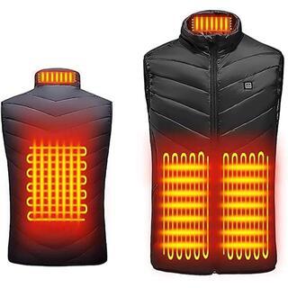 電熱ベスト 電熱ジャケット 3段階温度調節 4つヒーター 水洗い可(ダウンジャケット)