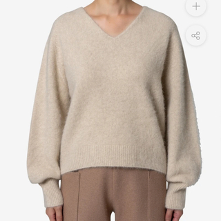 GREED - Superfine Fur V-neck Sweater in Ivory