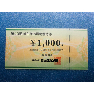 ビッグカメラ株主優待券1000円分(ショッピング)