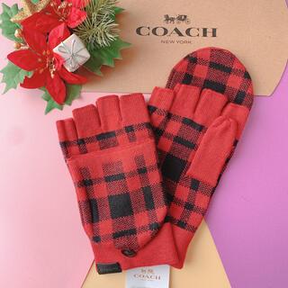 コーチ(COACH)の【即購入大歓迎】新品☆coach レッド 手袋 レディース おしゃれ かわいい(手袋)