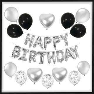 風船 パーティー バルーン 誕生日 お祝い 28点セット 白黒(ウェルカムボード)