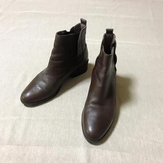 イング(ing)の美品✨ing イング 本革 サイドゴア ショートブーツ ブラウン 23cm(ブーツ)