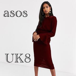 エイソス(asos)の【新品未使用】asos フレアスリーブドレス  UK8(ミディアムドレス)