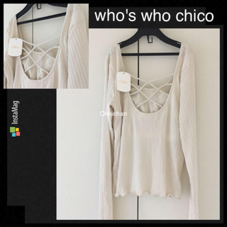 who's who Chico - 新品タグ付き☆BACKレースアップロンT  オフホワイト