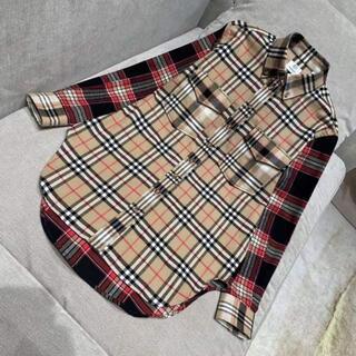 BURBERRY - BURBERRY チェックウールフランネル オーバーサイズシャツ