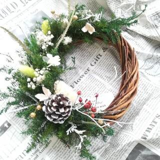 (送料無料)ドライフラワーリース 白い小枝のクリスマス、(ドライフラワー)