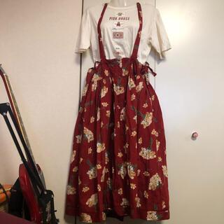 PINK HOUSE - ピンクハウス 花柄 サスペンダー スカート