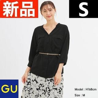 ジーユー(GU)のマットサテンダブルポケットシャツ(7分袖) GU ジーユー 黒 ブラック S(シャツ/ブラウス(長袖/七分))