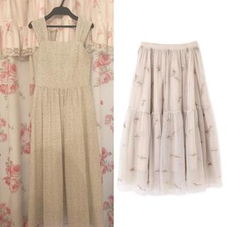 プロポーションボディドレッシング(PROPORTION BODY DRESSING)の♡フラワー刺繍ティアードスカート&ドットワンピース♡(ロングスカート)