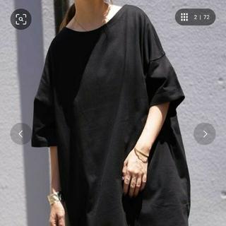 アンティカ(antiqua)の【送料込み】antiqua バスクTシャツ(半袖)【ブラック】(Tシャツ(半袖/袖なし))