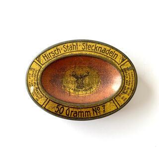 アッシュペーフランス(H.P.FRANCE)のアンティークの鹿柄 楕円缶 hirsch stahl stecknadeln(小物入れ)