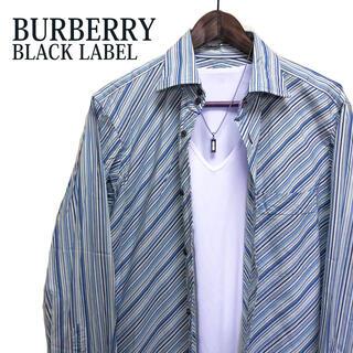 BURBERRY BLACK LABEL - BURBERRYBLACK LABEL 総柄シャツ 長袖シャツ青ストライプシャツ